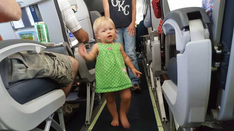 Walking the aisles with a toddler on airplane