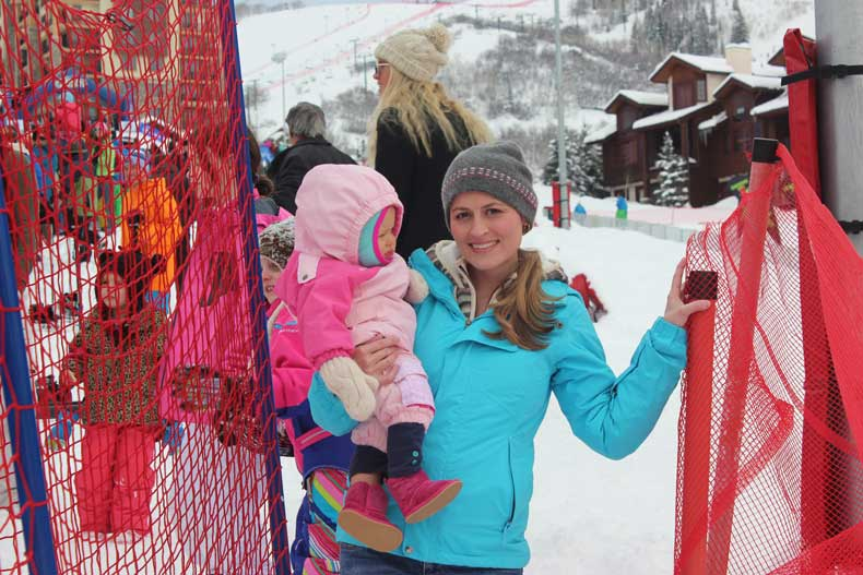 Base area in Steamboat - Cowboy Downhill with kids