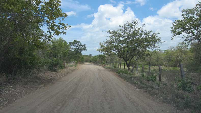 Dirt road leading to the Llanos de Cortes waterfall near Liberia, Costa Rica