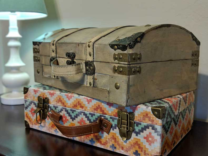 Decorative suitcases in our travel-themed nursery
