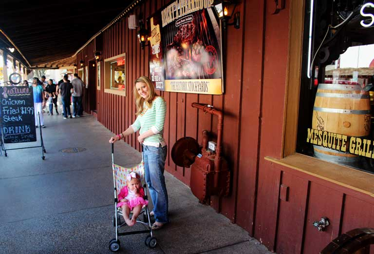 Outside Riscky's Steakhouse in the Fort Worth Stockyards, the oldest restaurant in the city.