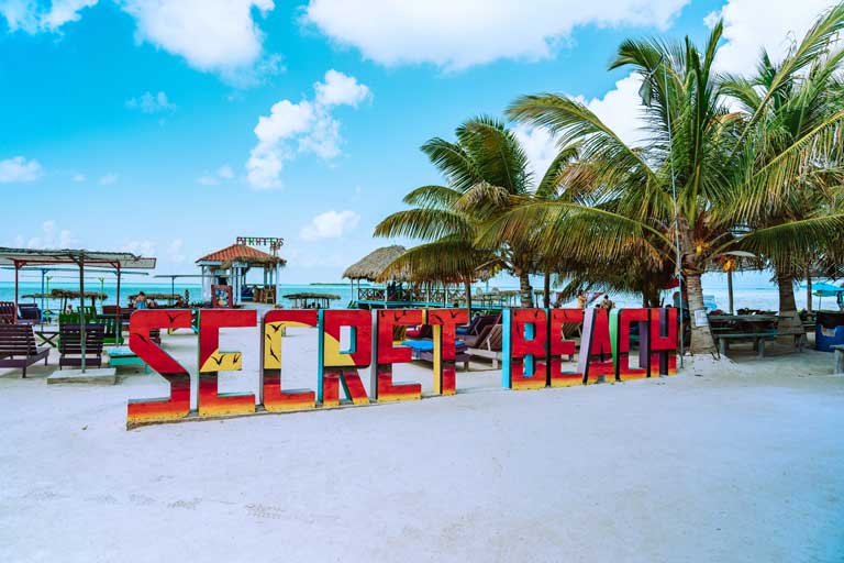 Secret Beach, one of the most popular things to do on Ambergris Caye.