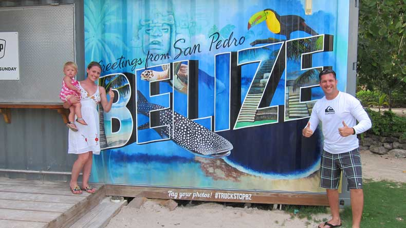 Posing for a photo at the Truck Stop, just outside of San Pedro, Belize on Ambergris Caye