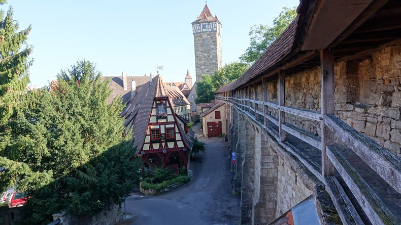 Rothenburg ob der tauber with kids - view of town from wall