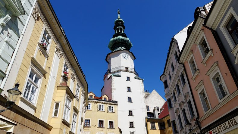 Bratislava one day itinerary - Old Town buildings and St Michaels Gate