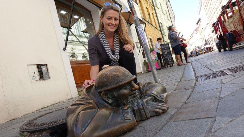 Statues in Bratislava - Man at Work statue