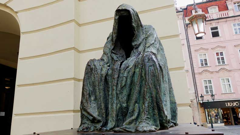 Statues in Prague, Czech Republic - clocked ghost