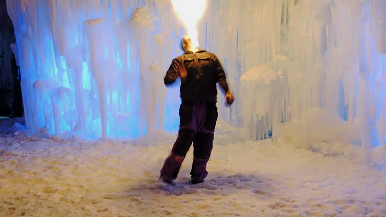 Midway Ice Castles fire performances
