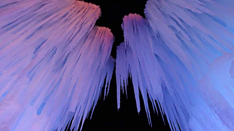 Icicles dangling overhead at the Midway Ice Castles in Utah