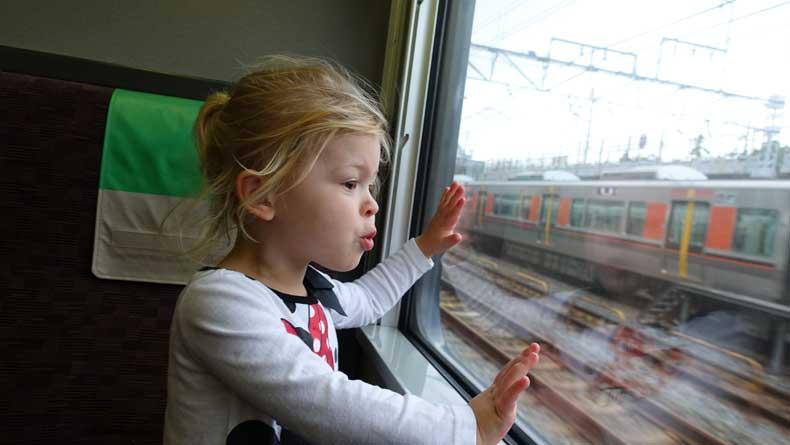 kids in Japan on a train