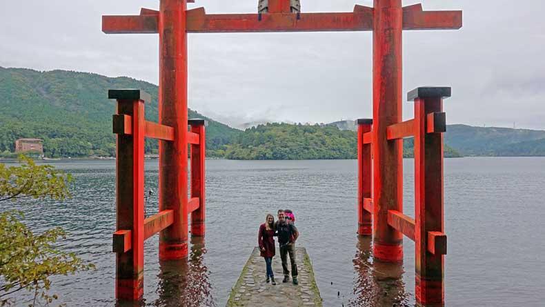 hakone shrine torii gate lake ashi