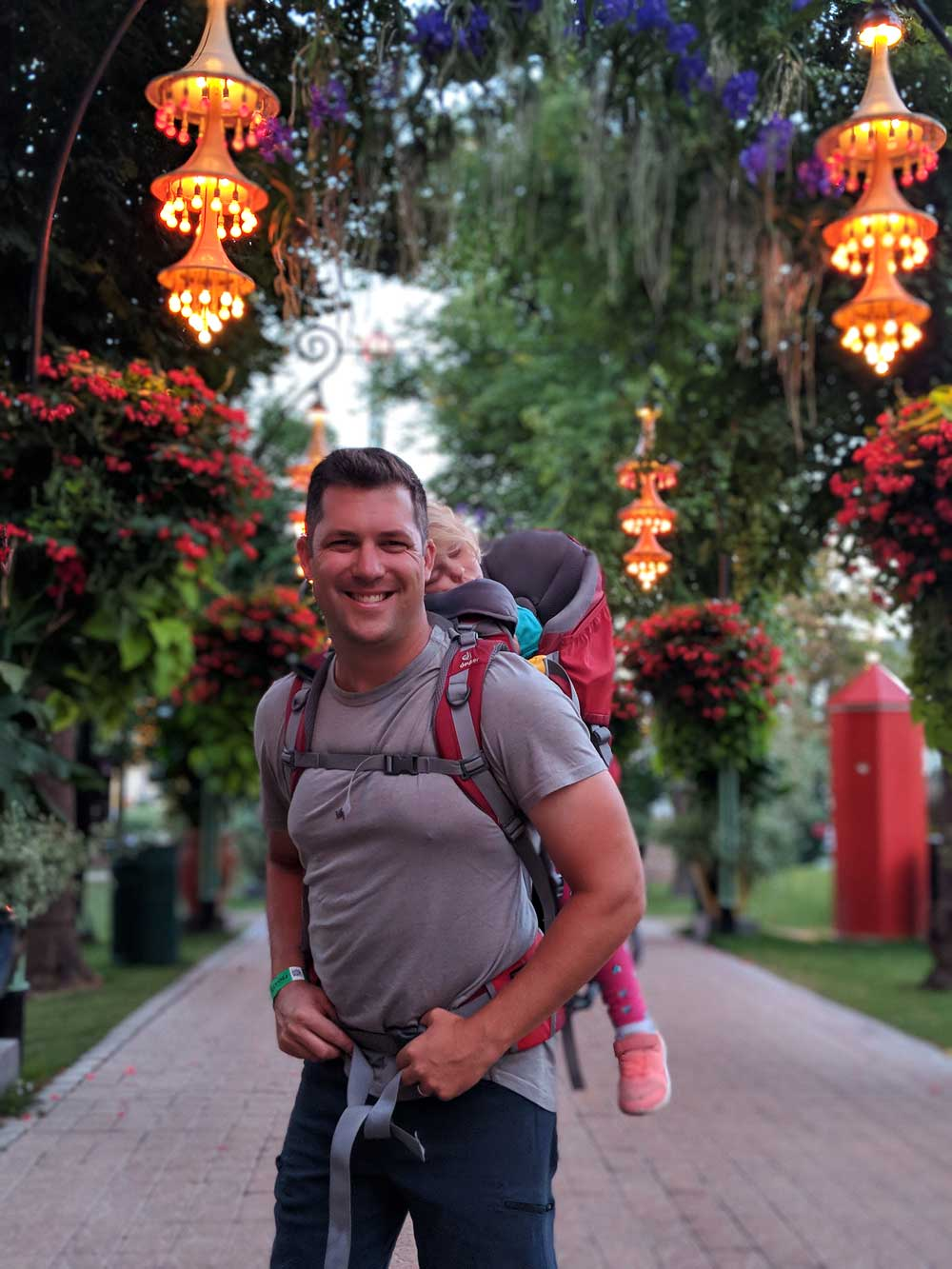 Copenhagen Tivoli Gardens with toddler - napping in the Deuter child carrier