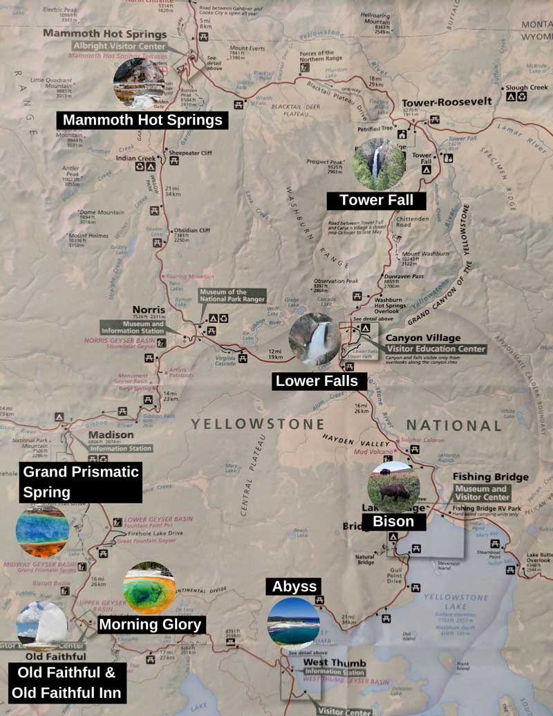 Yellowstone Map of things to do