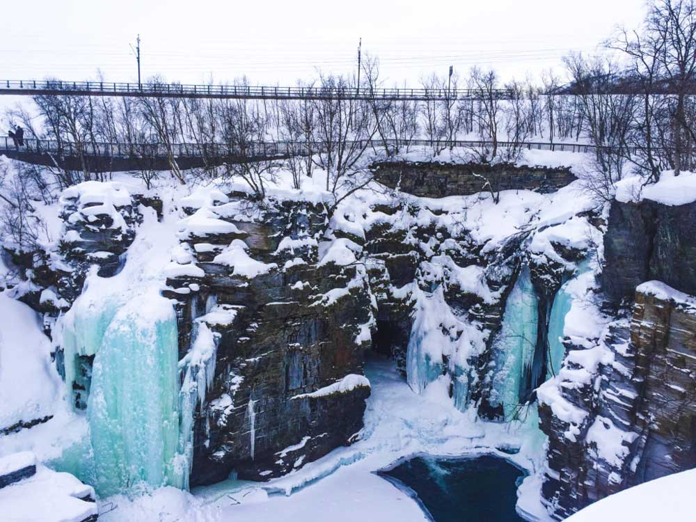 frozen waterfalls swedish lapland