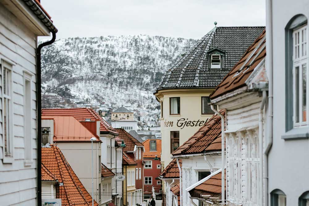 Snowy mountain in Bergen Norway in winter