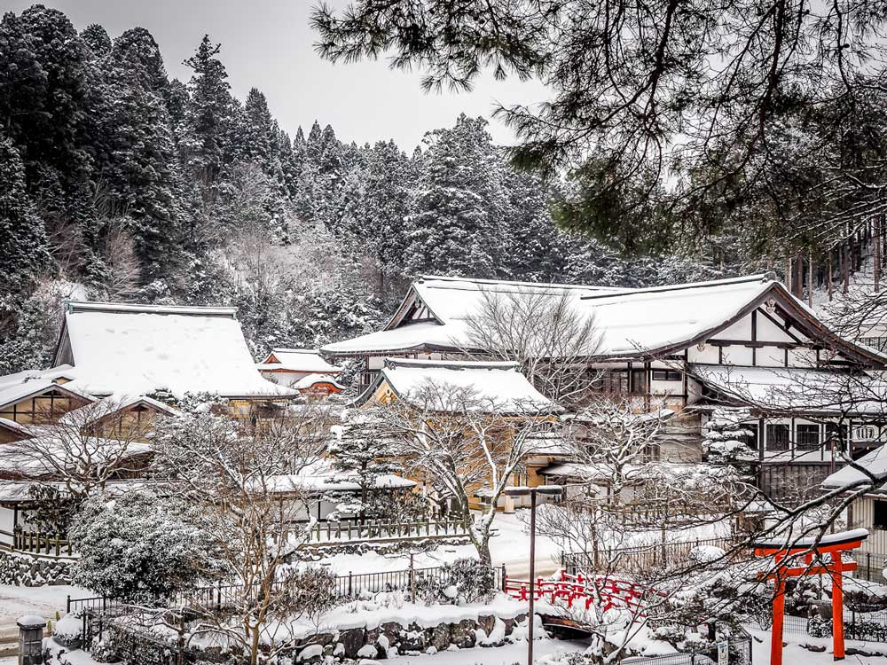 magical places in winter Koyasan Japan