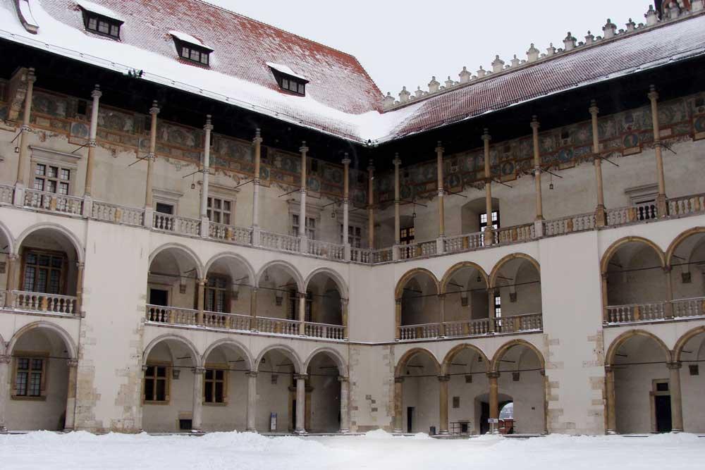 poland winter snow in krakow