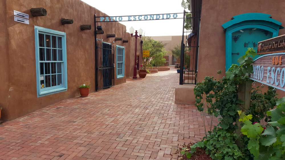 Adobe buildings in Old Town Albuquerque, a type of architecture you will see a lot on an American Southwest road trip.