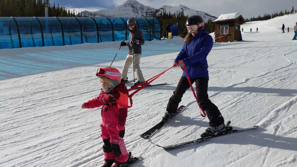 teaching toddlers to ski harness