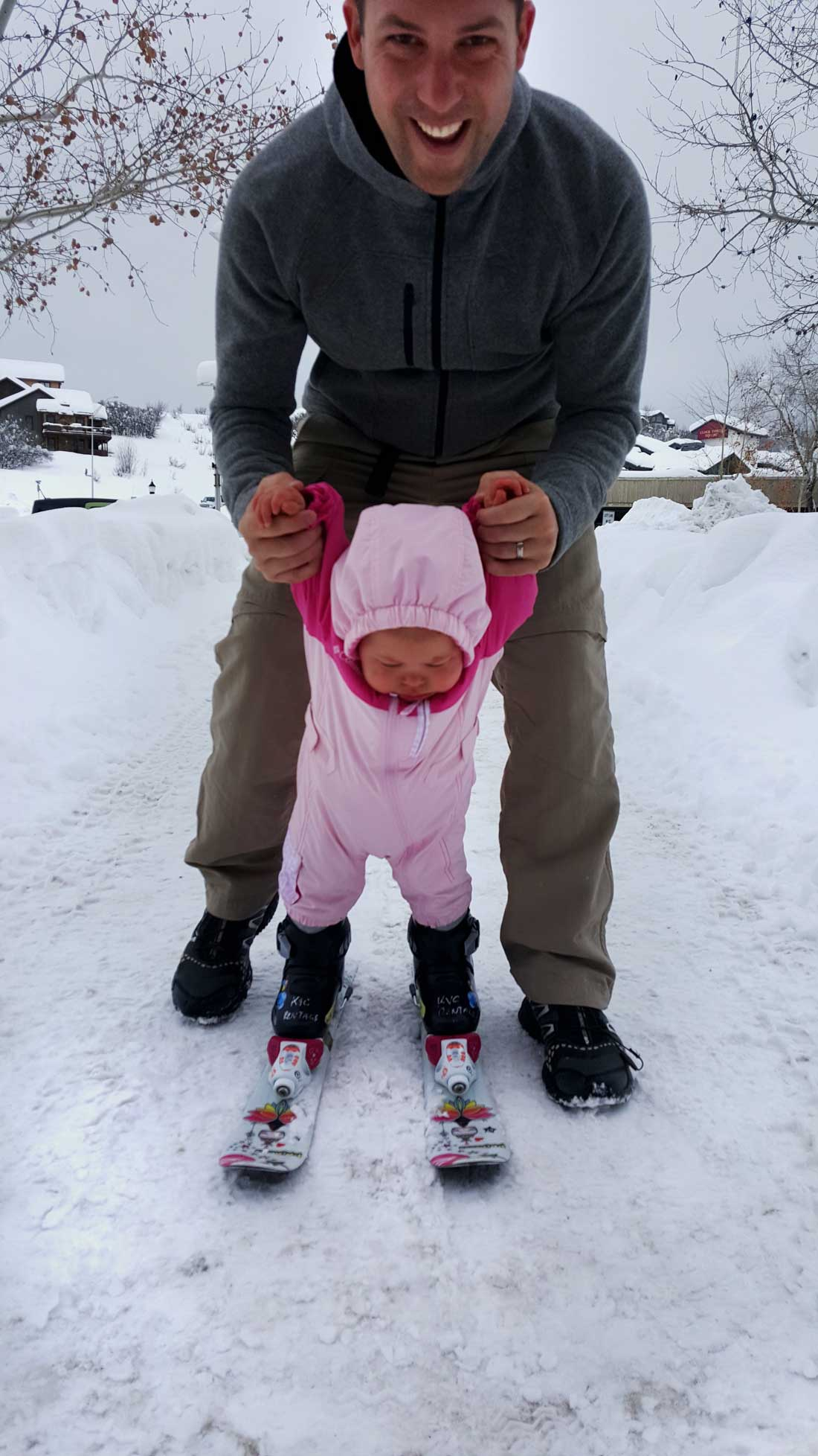 how to teach kids to ski - baby on skis