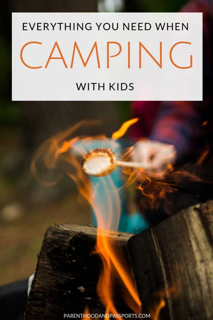 Camping with kids can be a lot of fun but it can also be challenging. This handy guide covers everything you need to bring with you to the campsite, including the essential camping gear plus some entertaining must-have items to make camping with kids exciting and safe. Includes a few tried and tested tips to make camping with kids easier. #camping