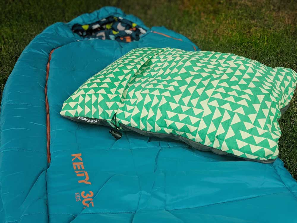 kids' camping gear - sleeping bag and pillow