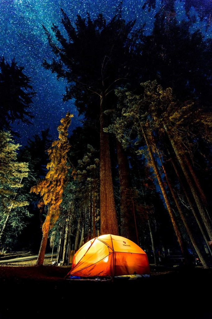 must-have camping gear - 4 person tent set up in woods at night