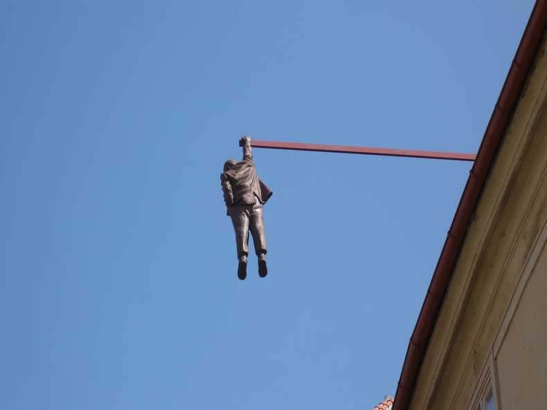Hanging Man Prague statue
