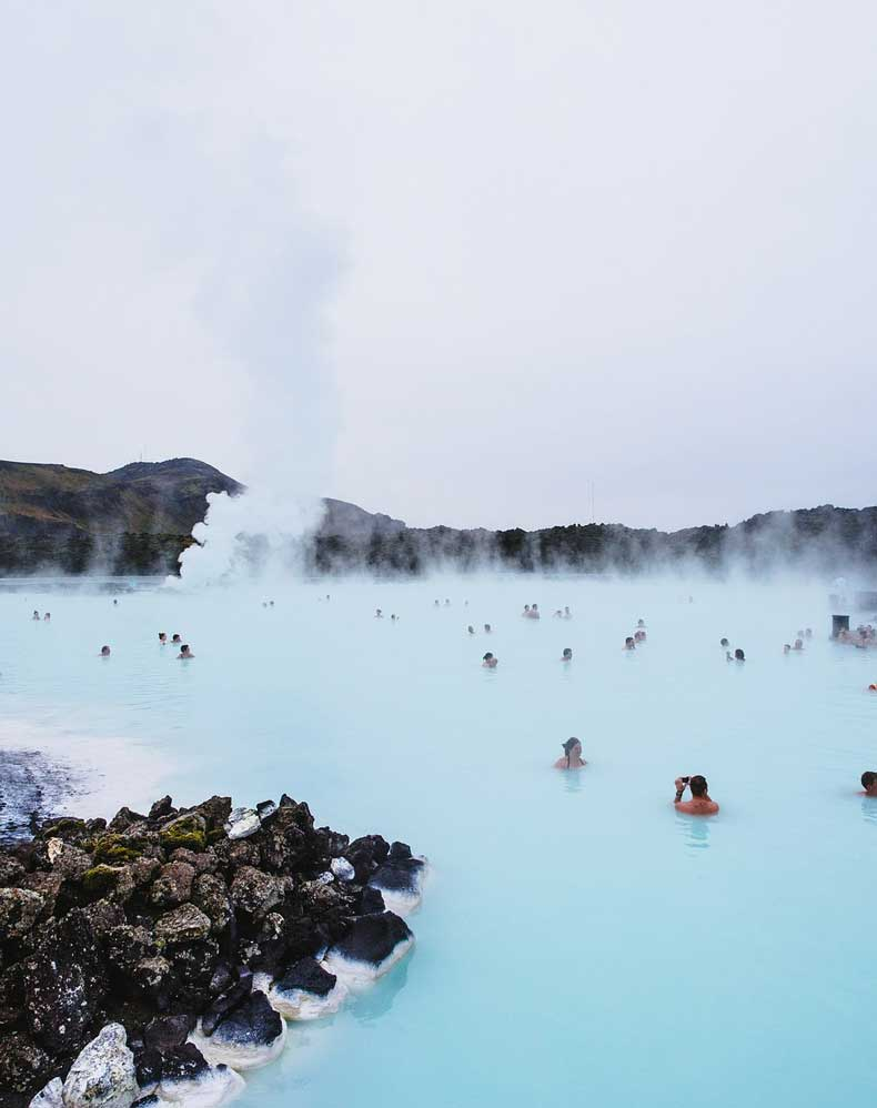 people visiting the Blue lagoon