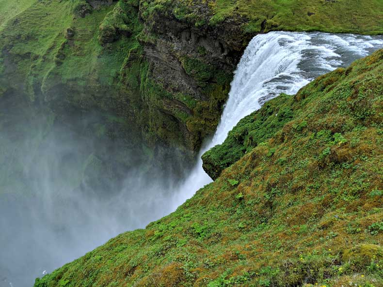 Iceland 4 day itinerary - waterfall from above