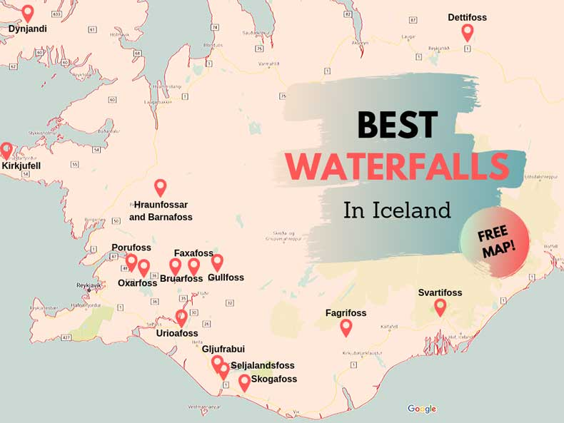 Iceland waterfalls map