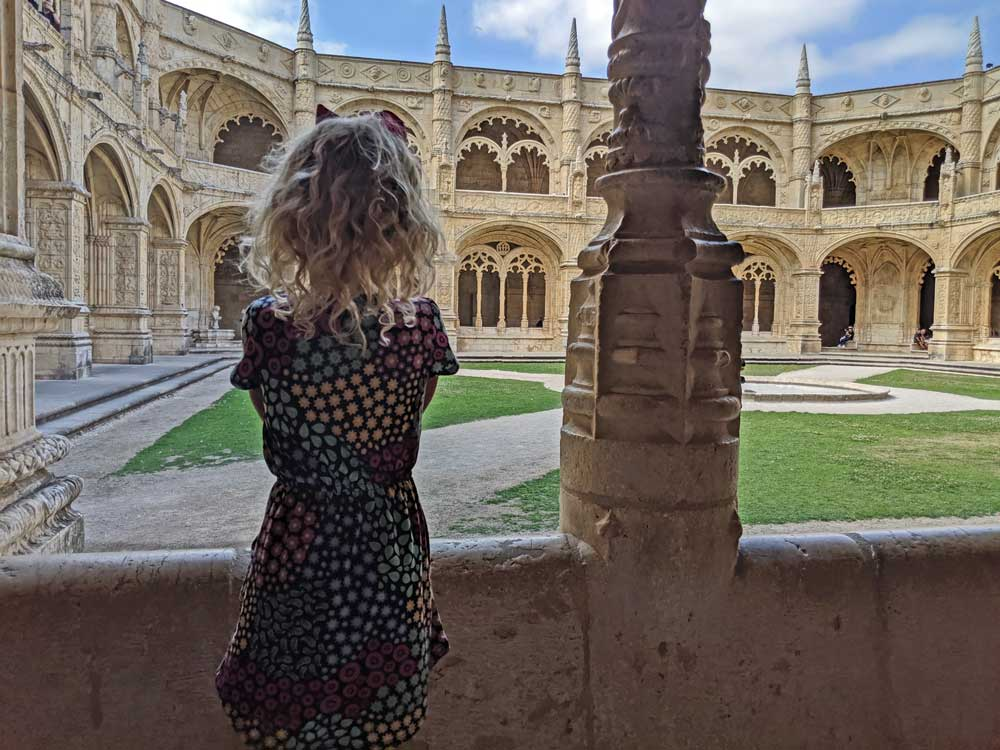 child in Jeronimos Monastery in Lisbon