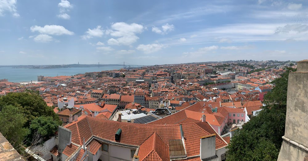 view of Lisbon Portugal from castle during family vacation to Lisbon