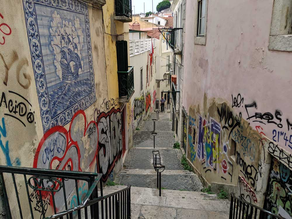 street art along narrow staircase in Lisbon's Alfama district