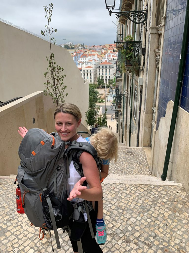 Lisbon with kids in carrier