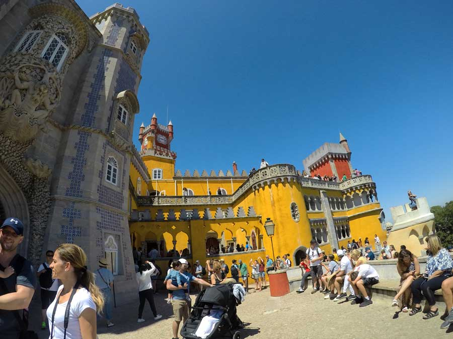 Crowds of people at Pena Palace on a Lisbon to Sintra day trip