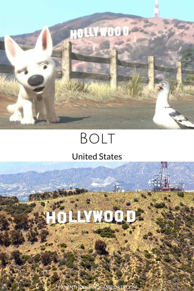 A picture from the Disney movie Bolt compared to a real picture of the Hollywood sign in California