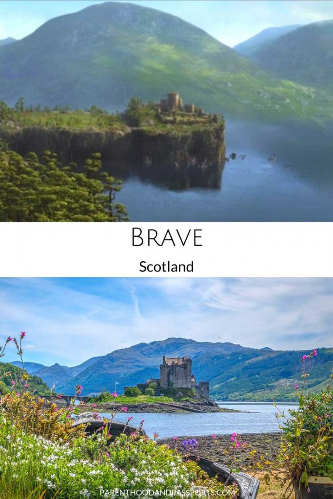 A picture from one of the places in Disney movies set in Europe, like Brave, compared to a real picture of Scotland where the movie takes place