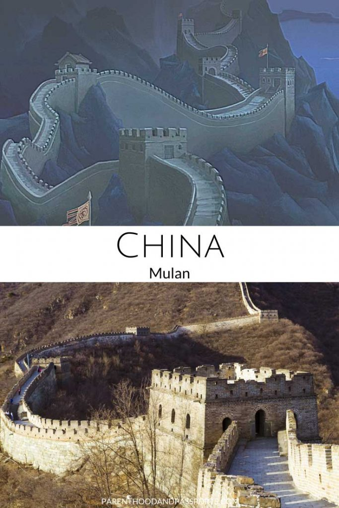 A picture from the Disney movie Mulan compared to a real picture of the Great Wall of China