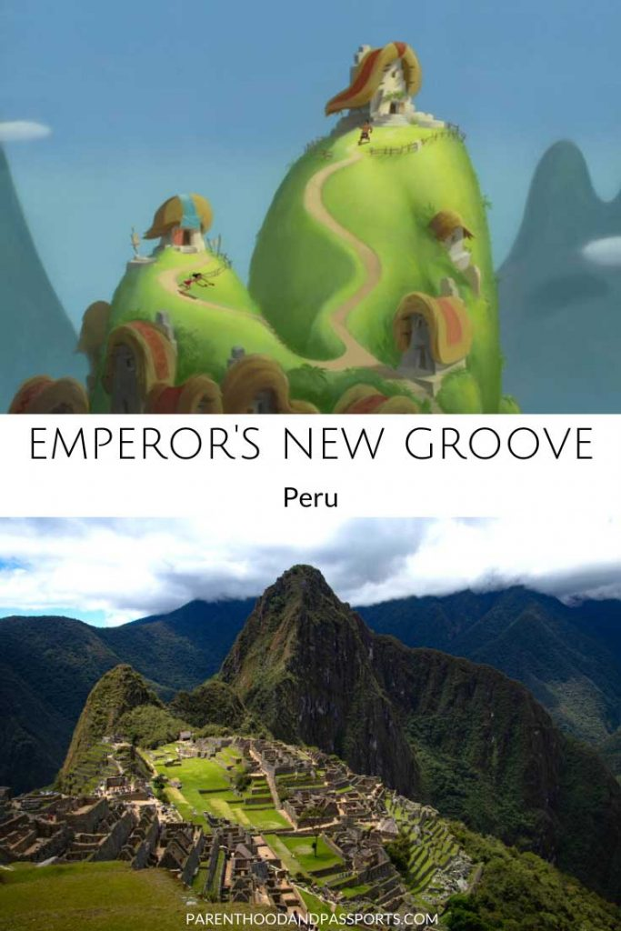 A picture from the Disney movie Emperor's New Groove compared to a real picture of Machu Picchu in Peru, one of the real places depicted in Disney movies