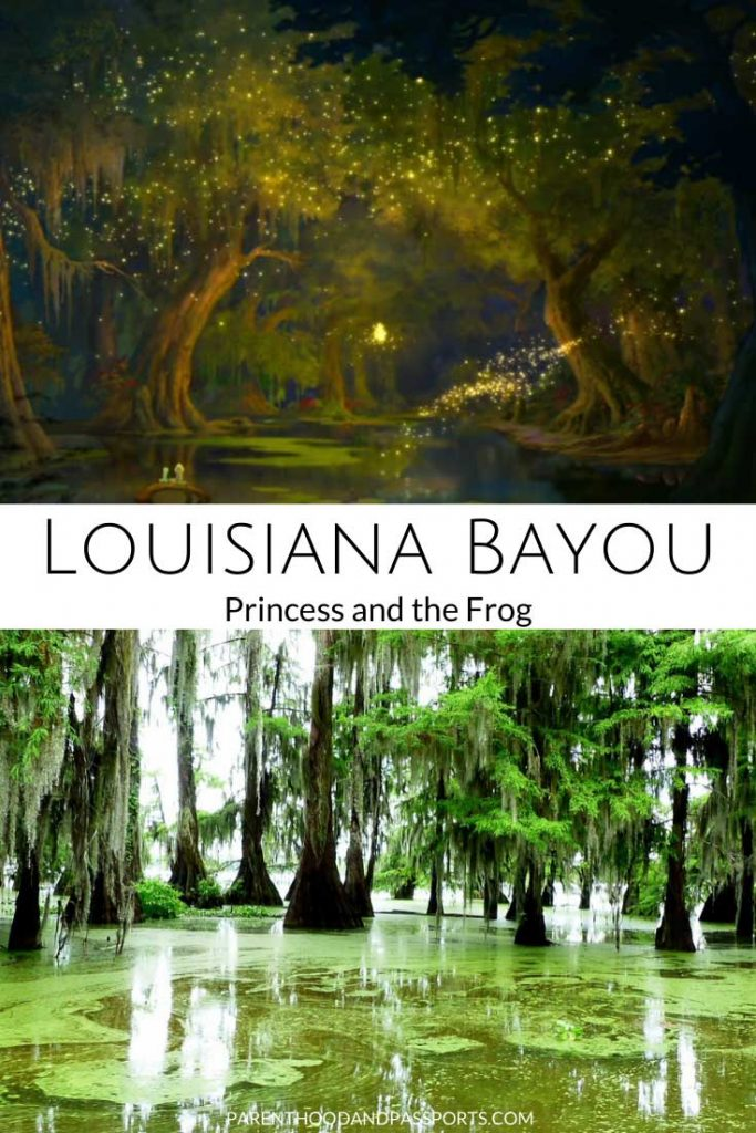 A picture from Disney's Princess and the Frog compared to a real picture of Louisiana, the setting of the travel movie for kids