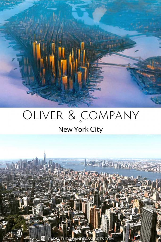 A picture from the Disney movie Oliver and Company compared to a real picture of New York City, the setting of the kid's movie