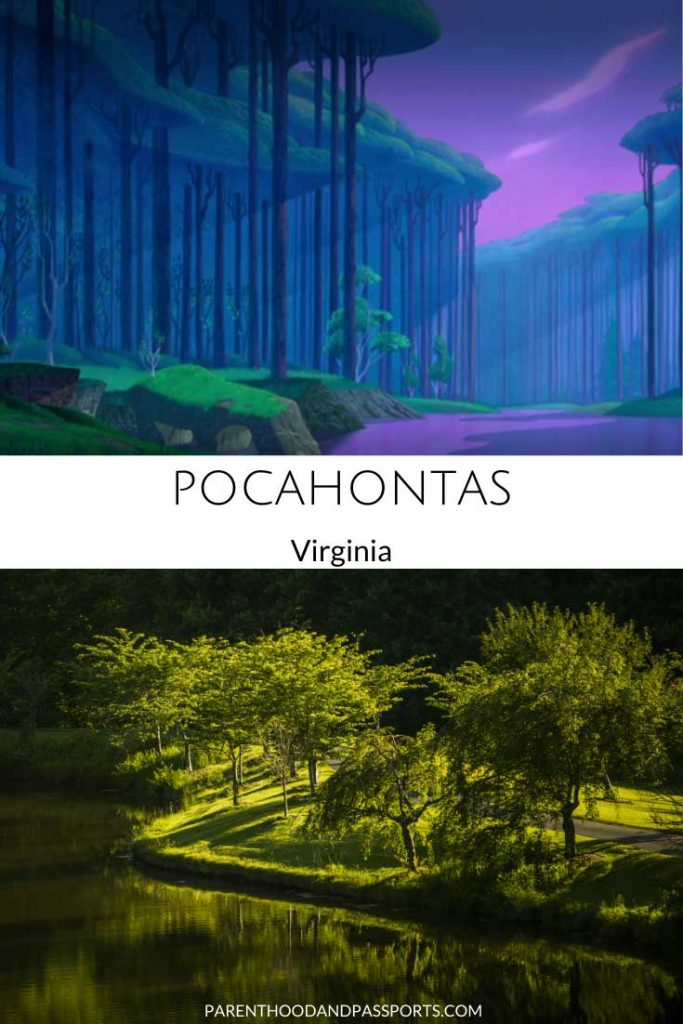 A picture from the Disney movie Pocahontas compared to a real picture of the James River in Virginia , the setting of the animated film