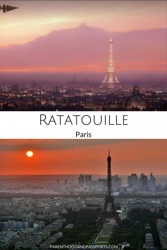Picture from Ratatouille movie compared to a real picture of Paris, the setting of the Disney movie.
