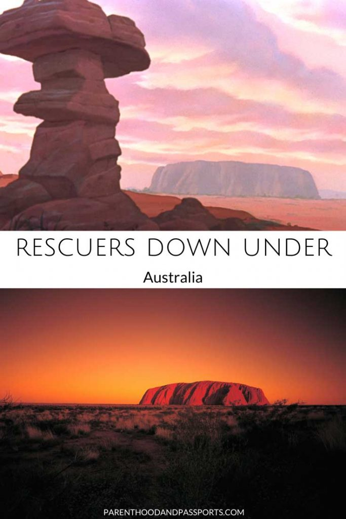 A picture from one of the places in Disney movies set in Australia like the rescuers down under compared to a real picture of Australia
