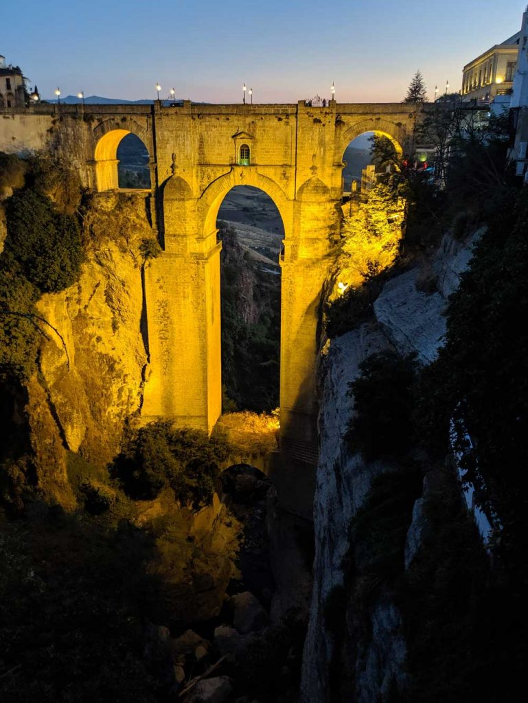 Ronda at night - Puente Nuevo lit up at night