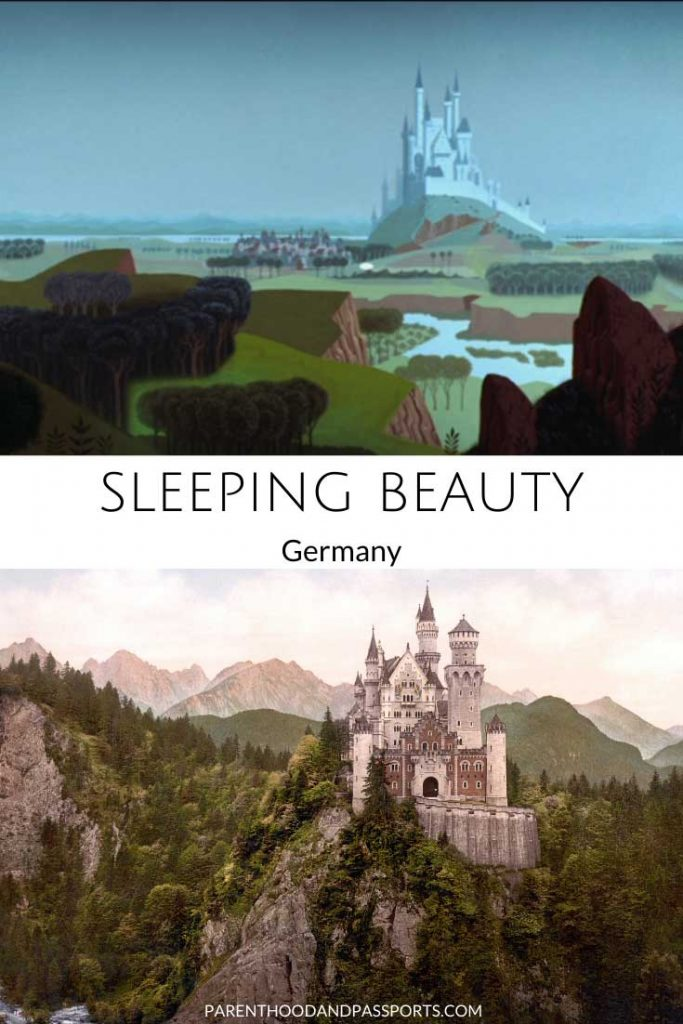 The animated setting of Sleeping Beauty compared to the real-life Sleeping Beauty castle, Neuschwanstein in Germany