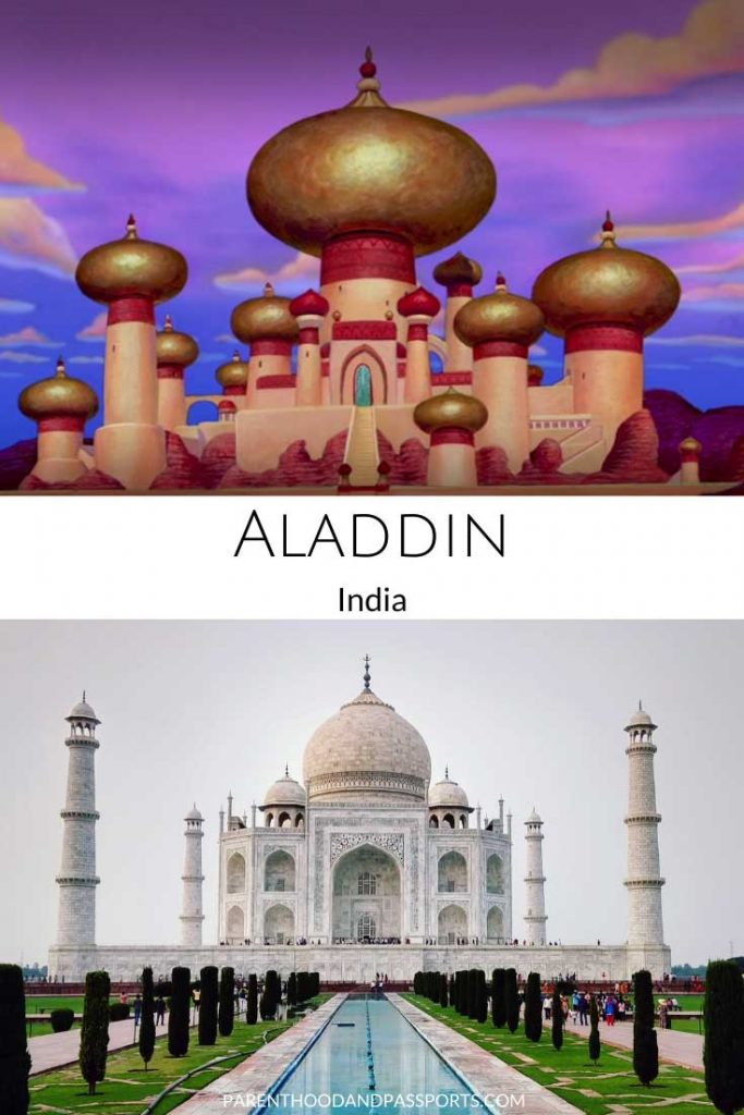 A picture from the Disney movie Aladdin compared to a real picture of the Taj Mahal in India