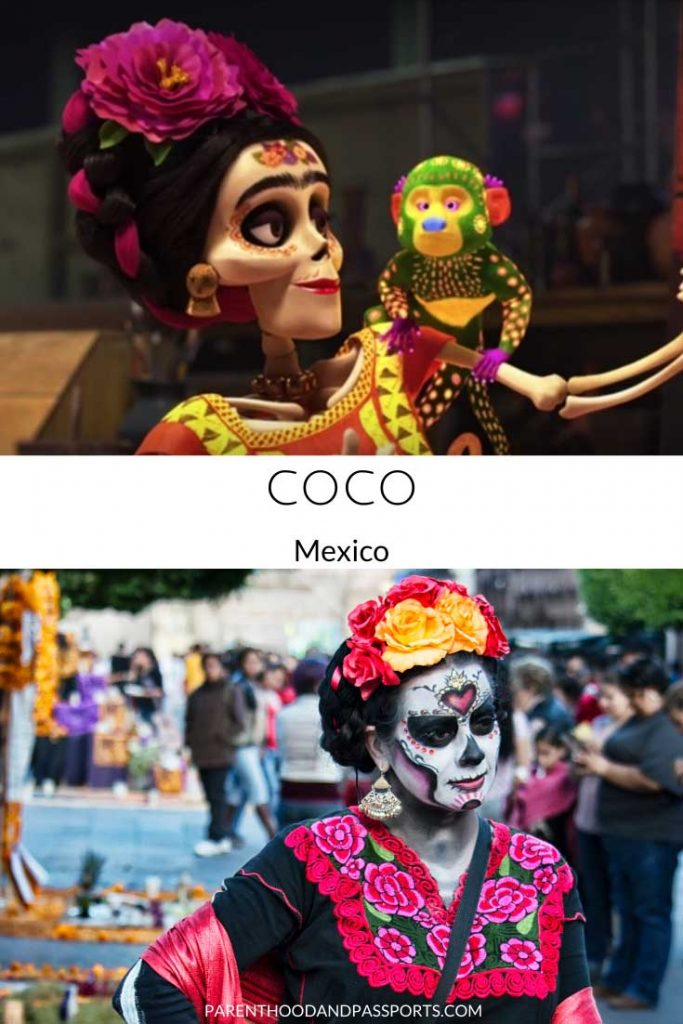 A picture from the Disney movie Coco compared to a real picture of Mexico, the setting of the children's movie