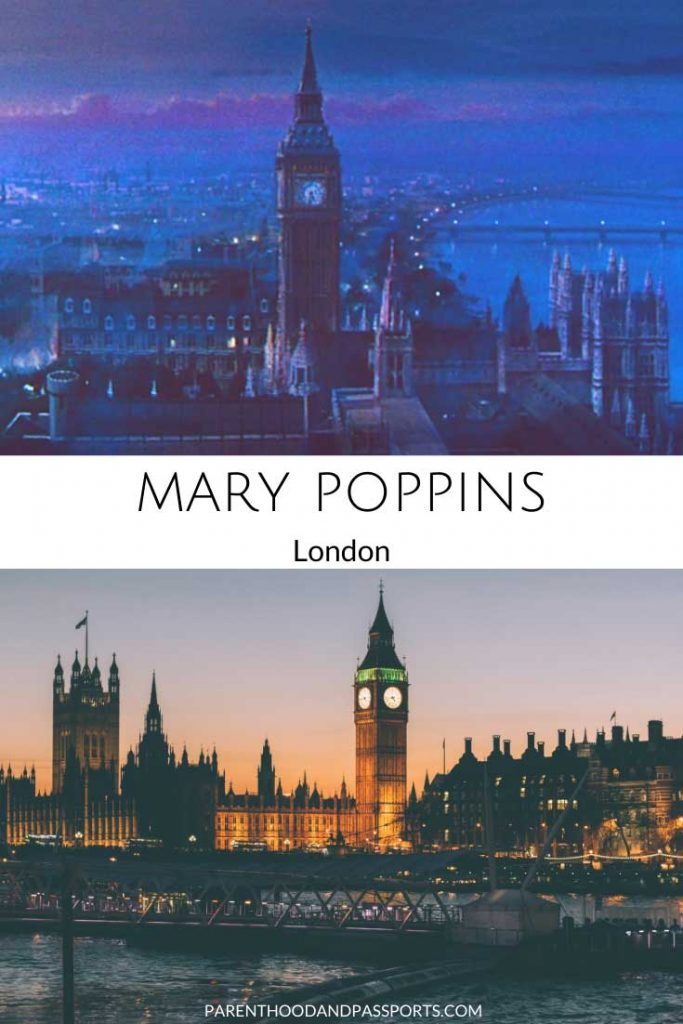 The movie setting of Mary Poppins compared to a real picture of London, the setting of the Disney movie.
